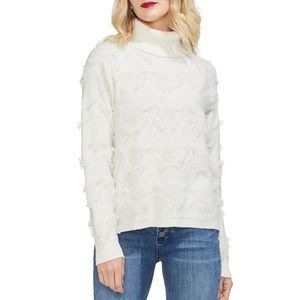 Vince Camuto fringe tufted white cream sweater